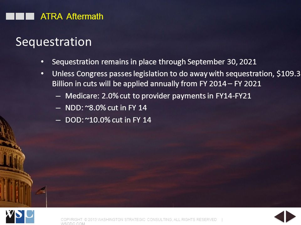 COPYRIGHT © 2013 WASHINGTON STRATEGIC CONSULTING, ALL RIGHTS RESERVED | WSCDC.COM ATRA Aftermath Sequestration remains in place through September 30, 2021 Unless Congress passes legislation to do away with sequestration, $109.3 Billion in cuts will be applied annually from FY 2014 – FY 2021 – Medicare: 2.0% cut to provider payments in FY14-FY21 – NDD: ~8.0% cut in FY 14 – DOD: ~10.0% cut in FY 14 Sequestration
