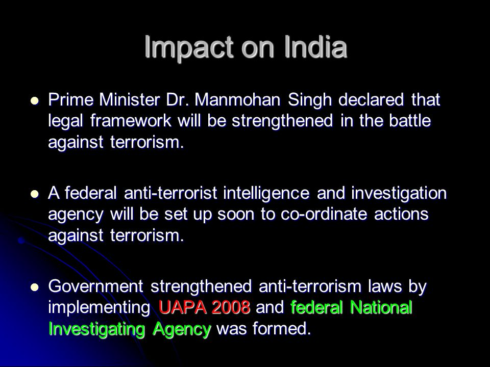 Impact on India Prime Minister Dr.