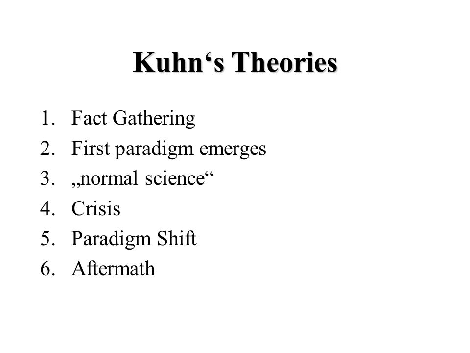 "Kuhn's Theories 1.Fact Gathering 2.First paradigm emerges 3.""normal science 4.Crisis 5.Paradigm Shift 6.Aftermath"