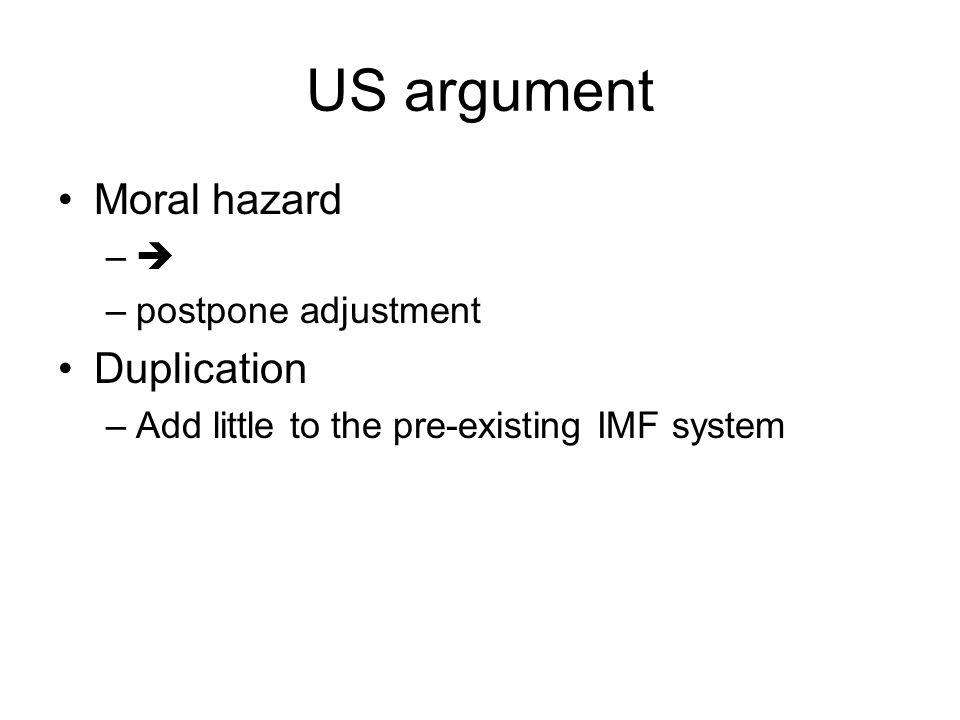 US argument Moral hazard –– –postpone adjustment Duplication –Add little to the pre-existing IMF system