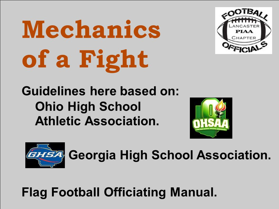Mechanics of a Fight Guidelines here based on: Georgia High School Association.