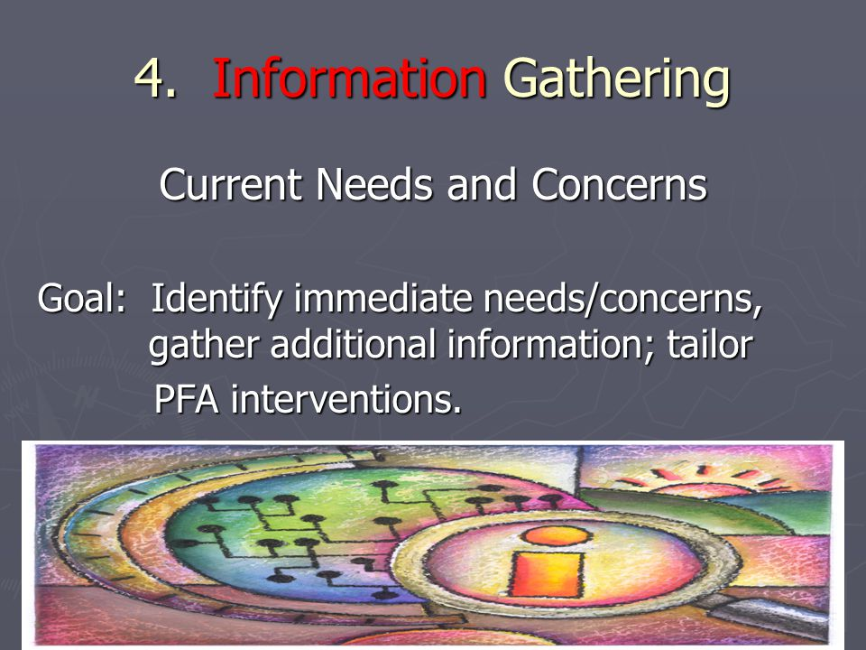 4. Information Gathering Current Needs and Concerns Goal: Identify immediate needs/concerns, gather additional information; tailor PFA interventions.
