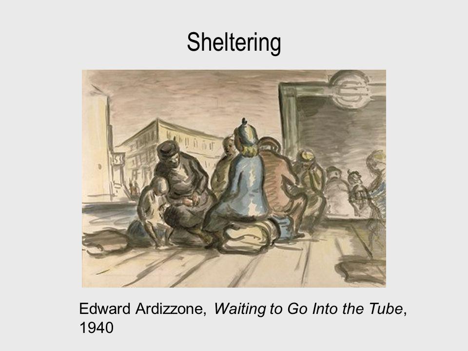 Sheltering Edward Ardizzone, Waiting to Go Into the Tube, 1940