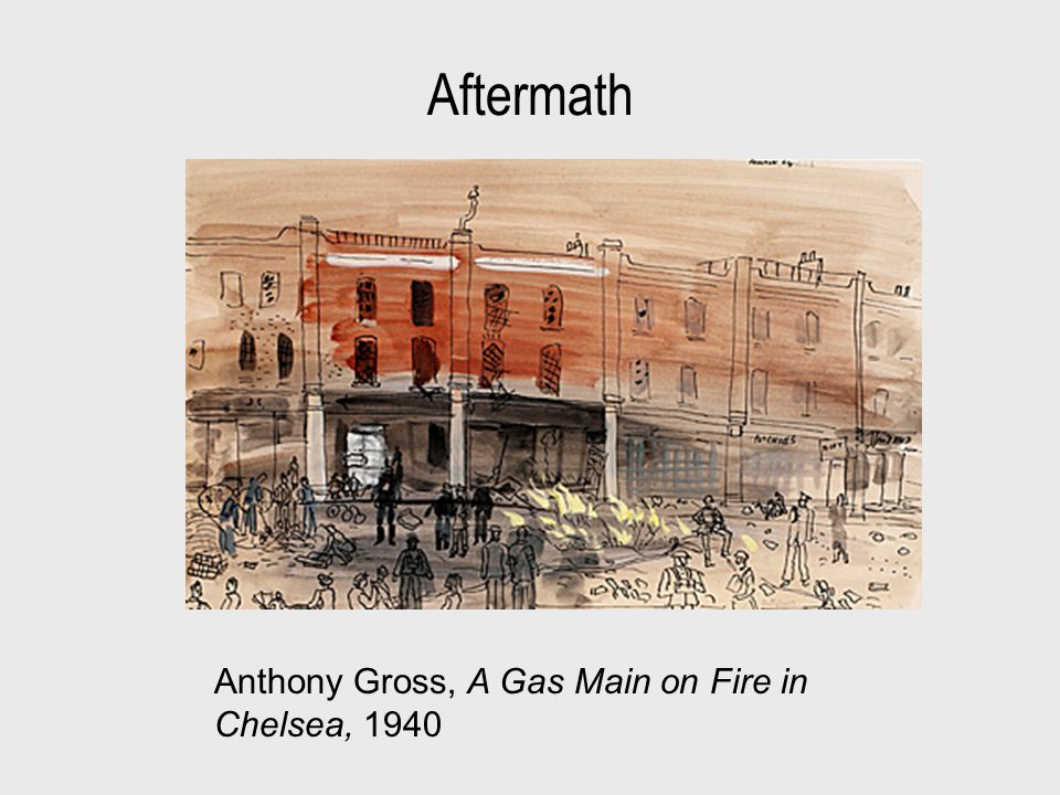 Aftermath Anthony Gross, A Gas Main on Fire in Chelsea, 1940