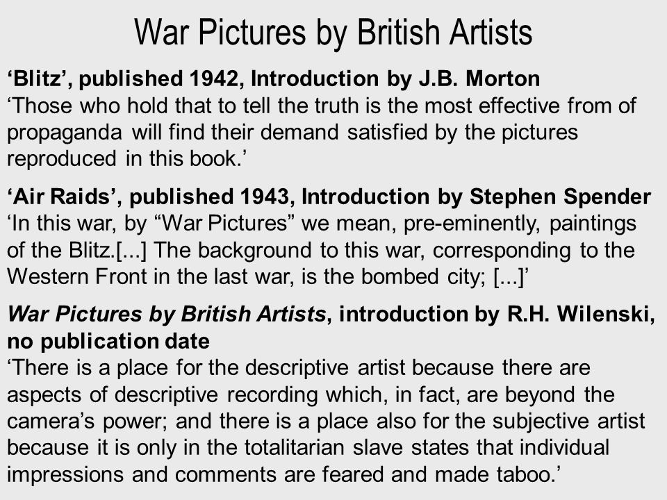 War Pictures by British Artists 'Blitz', published 1942, Introduction by J.B.