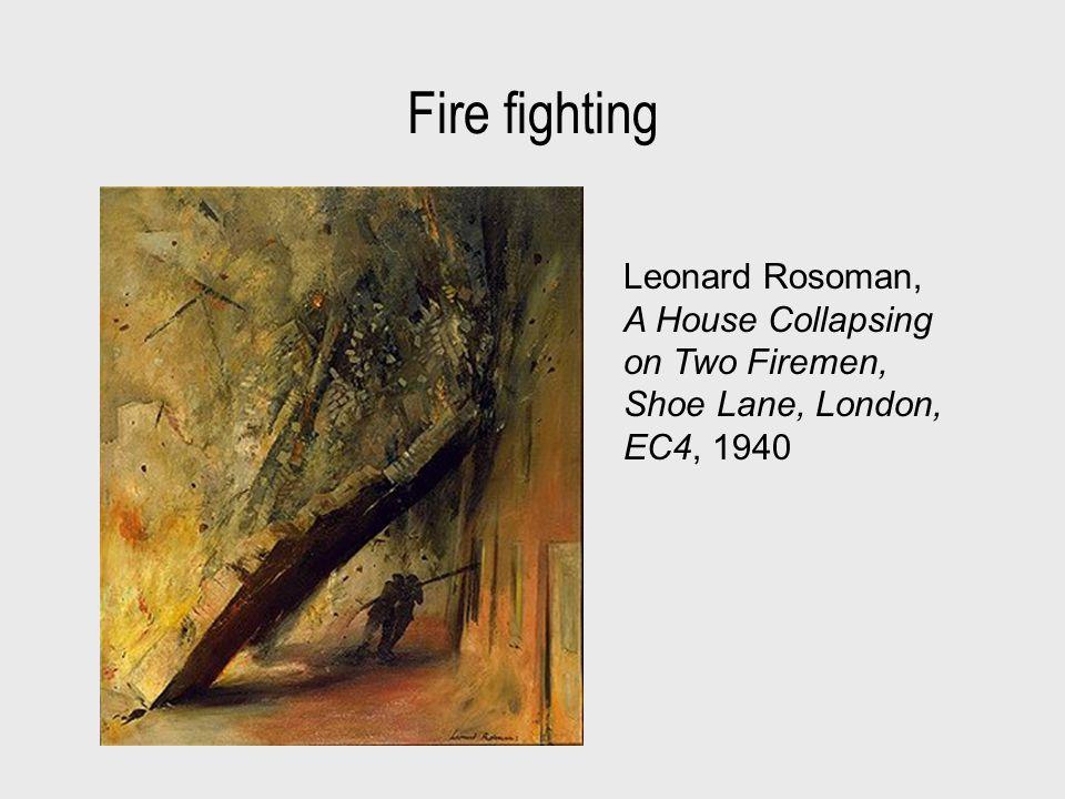 Fire fighting Leonard Rosoman, A House Collapsing on Two Firemen, Shoe Lane, London, EC4, 1940