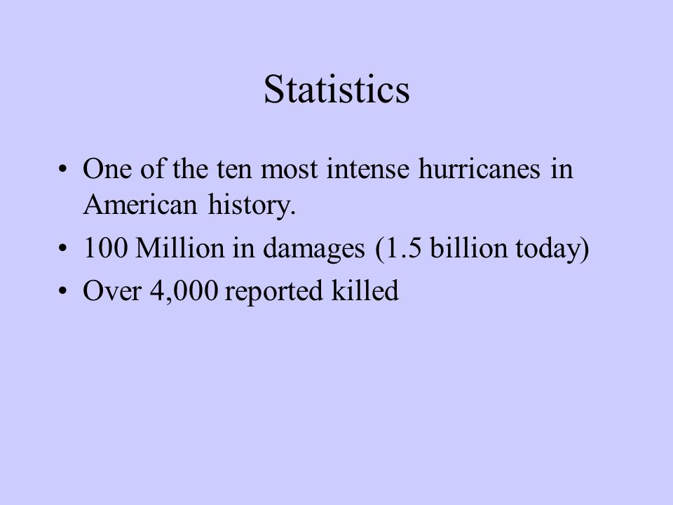 Statistics One of the ten most intense hurricanes in American history. 100 Million in damages (1.5 billion today) Over 4,000 reported killed
