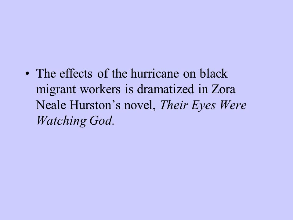 The effects of the hurricane on black migrant workers is dramatized in Zora Neale Hurston's novel, Their Eyes Were Watching God.