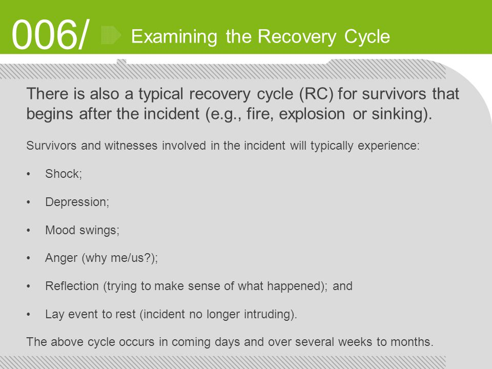 006/ Examining the Recovery Cycle There is also a typical recovery cycle (RC) for survivors that begins after the incident (e.g., fire, explosion or sinking).