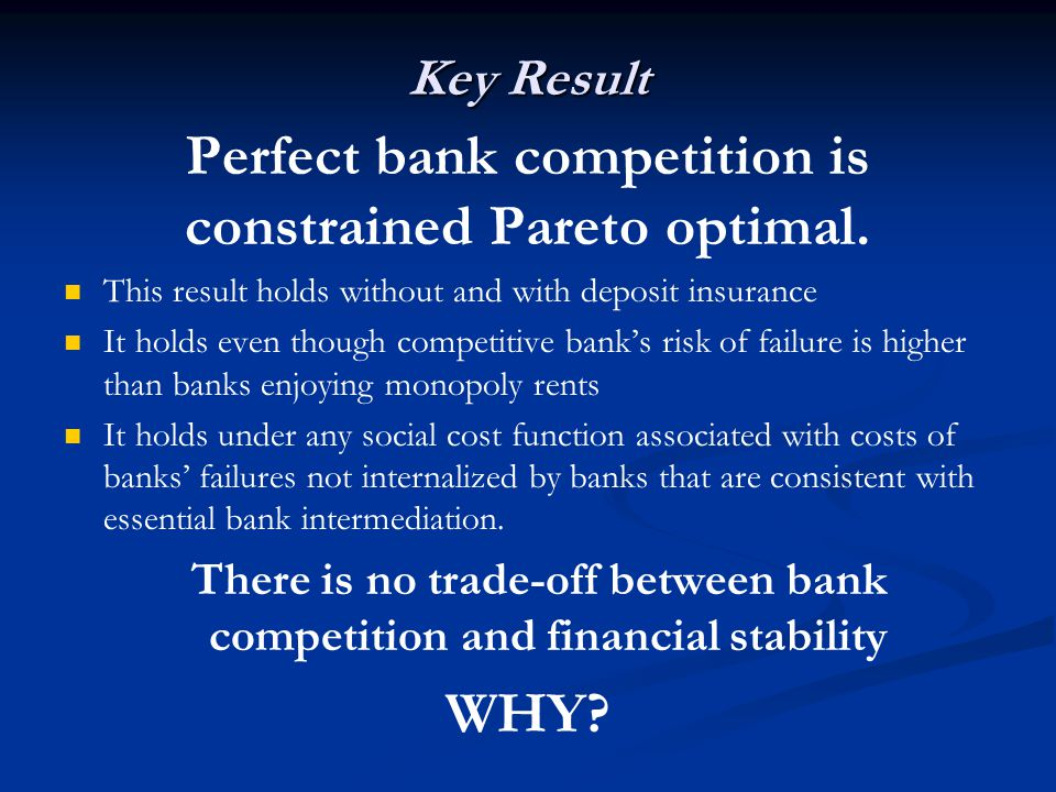 Key Result Perfect bank competition is constrained Pareto optimal. This result holds without and with deposit insurance It holds even though competiti