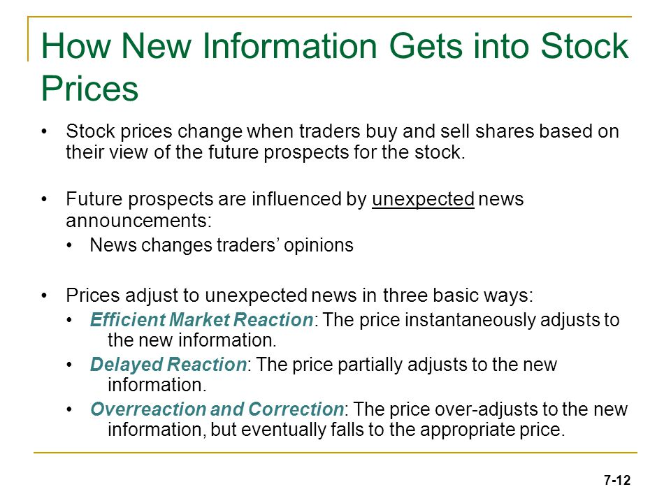 7-12 How New Information Gets into Stock Prices Stock prices change when traders buy and sell shares based on their view of the future prospects for the stock.