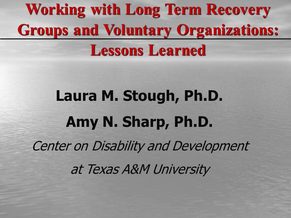 Laura M. Stough, Ph.D. Amy N. Sharp, Ph.D. Center on Disability and Development at Texas A&M University Working with Long Term Recovery Groups and Vol