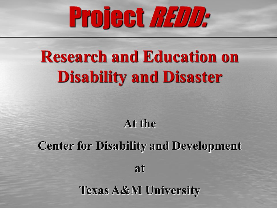 Project REDD: Research and Education on Disability and Disaster At the Center for Disability and Development at Texas A&M University