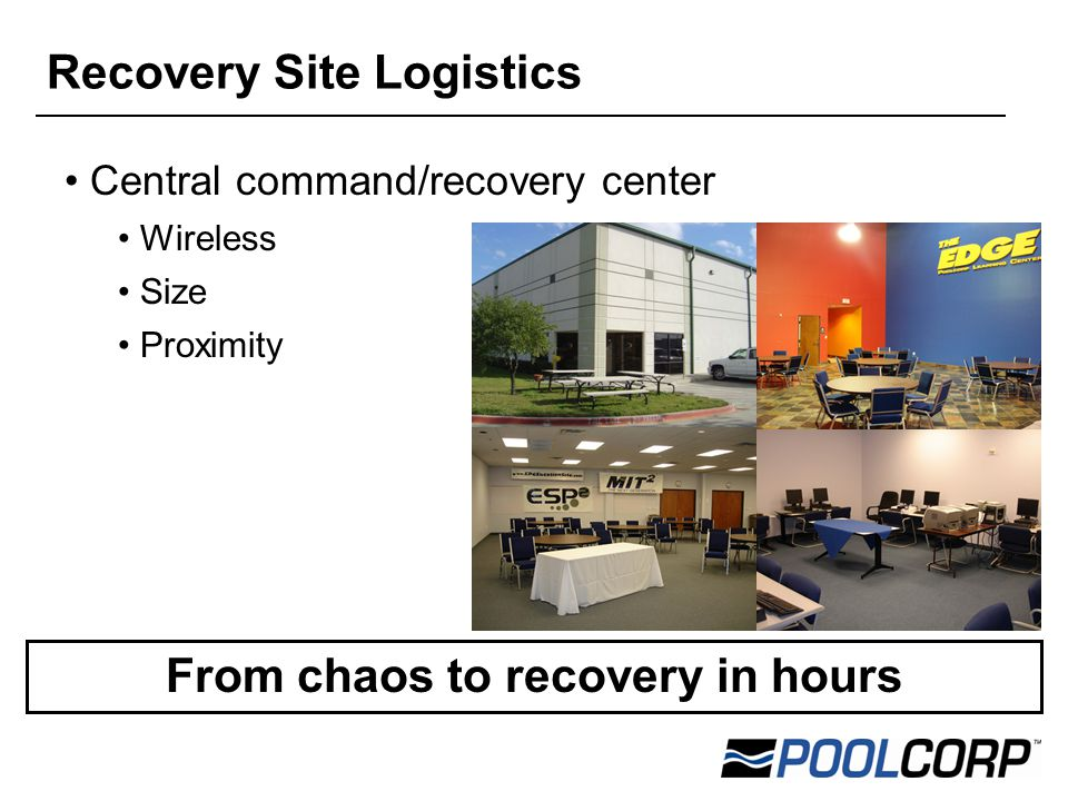 Central command/recovery center Wireless Size Proximity From chaos to recovery in hours Recovery Site Logistics