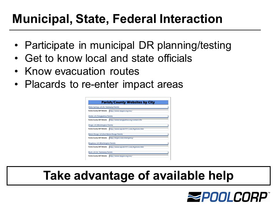 Participate in municipal DR planning/testing Get to know local and state officials Know evacuation routes Placards to re-enter impact areas Municipal, State, Federal Interaction Take advantage of available help