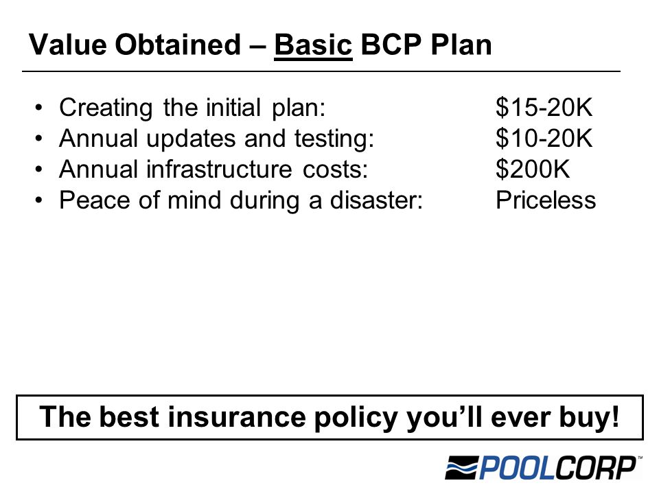 Creating the initial plan: $15-20K Annual updates and testing:$10-20K Annual infrastructure costs:$200K Peace of mind during a disaster:Priceless Value Obtained – Basic BCP Plan The best insurance policy you'll ever buy!