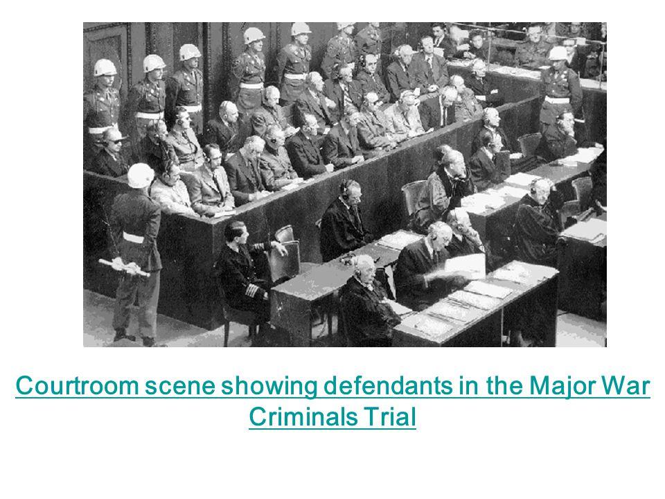 Courtroom scene showing defendants in the Major War Criminals Trial