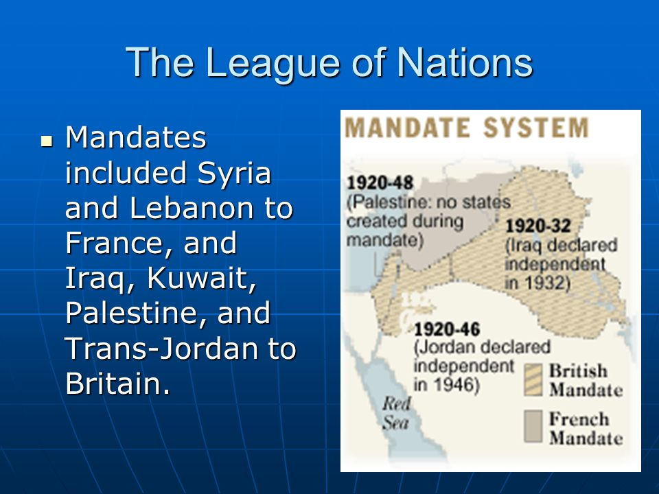 The League of Nations Mandates included Syria and Lebanon to France, and Iraq, Kuwait, Palestine, and Trans-Jordan to Britain.
