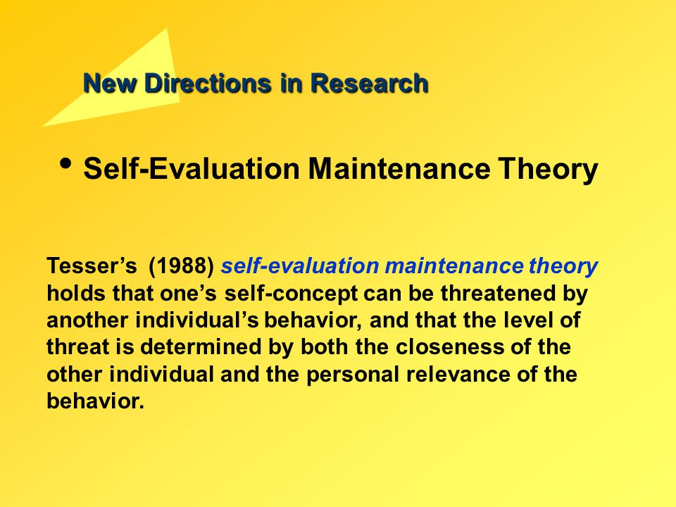 New Directions in Research Self-Evaluation Maintenance Theory Tesser's (1988) self-evaluation maintenance theory holds that one's self-concept can be