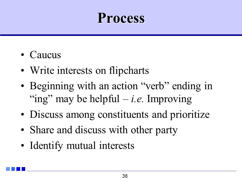 36Process Caucus Write interests on flipcharts Beginning with an action verb ending in ing may be helpful – i.e.