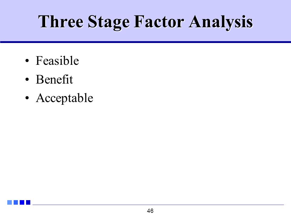 46 Three Stage Factor Analysis Feasible Benefit Acceptable
