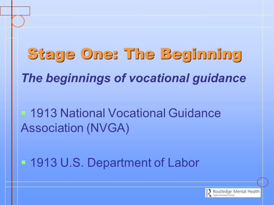 Stage One: The Beginning The beginnings of vocational guidance   1913 National Vocational Guidance Association (NVGA)   1913 U.S. Department of La
