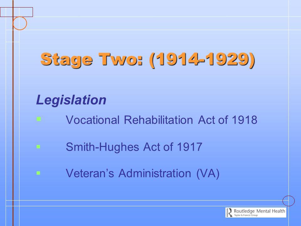 Stage Two: (1914-1929) Legislation   Vocational Rehabilitation Act of 1918   Smith-Hughes Act of 1917   Veteran's Administration (VA)
