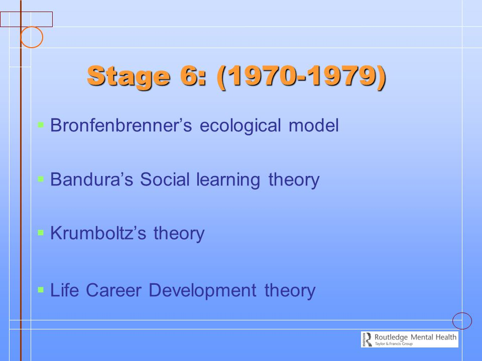 Stage 6: (1970-1979)   Bronfenbrenner's ecological model   Bandura's Social learning theory   Krumboltz's theory   Life Career Development the