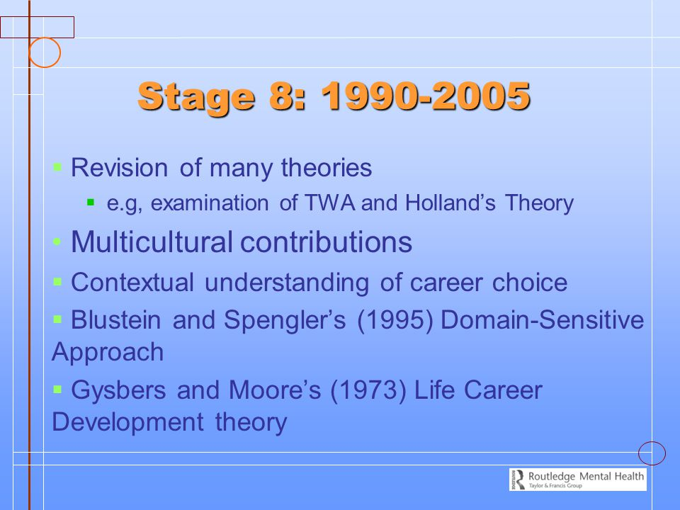 Stage 8: 1990-2005   Revision of many theories   e.g, examination of TWA and Holland's Theory Multicultural contributions   Contextual understan