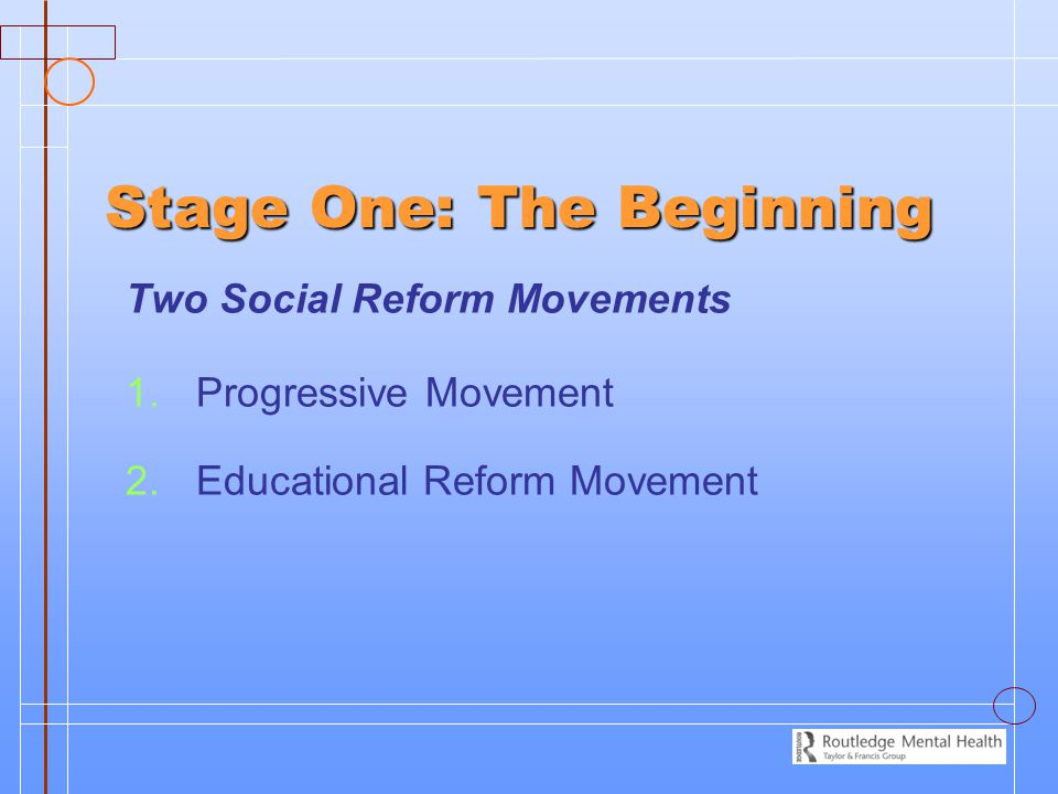 Stage One: The Beginning Two Social Reform Movements 1. 1.Progressive Movement 2. 2.Educational Reform Movement