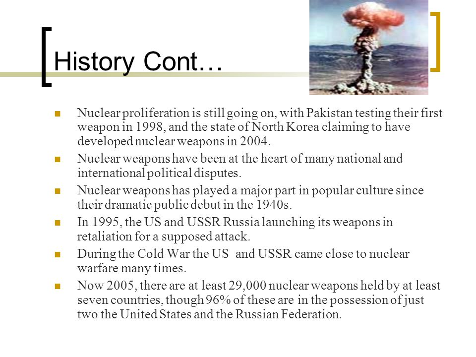 Website's http://en.wikipedia.org/wiki/Nuclear_weapon http://en.wikipedia.org/wiki/Atomic_bombings_of_Hiroshima_and_ Nagasaki http://en.wikipedia.org/wiki/Atomic_bombings_of_Hiroshima_and_ Nagasaki http://library.thinkquest.org/1740/texts/nuclear_weapons/nuclear_we apons.html http://library.thinkquest.org/1740/texts/nuclear_weapons/nuclear_we apons.html http://www.cnn.com/SPECIALS/cold.war/experience/the.bomb/depl oyment/ http://www.cnn.com/SPECIALS/cold.war/experience/the.bomb/depl oyment/ http://www.globalsecurity.org/wmd/world/iran/nuke.htm http://www.fas.org/nuke/guide/iran/nuke/