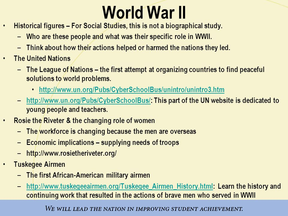 World War II Historical figures – For Social Studies, this is not a biographical study.