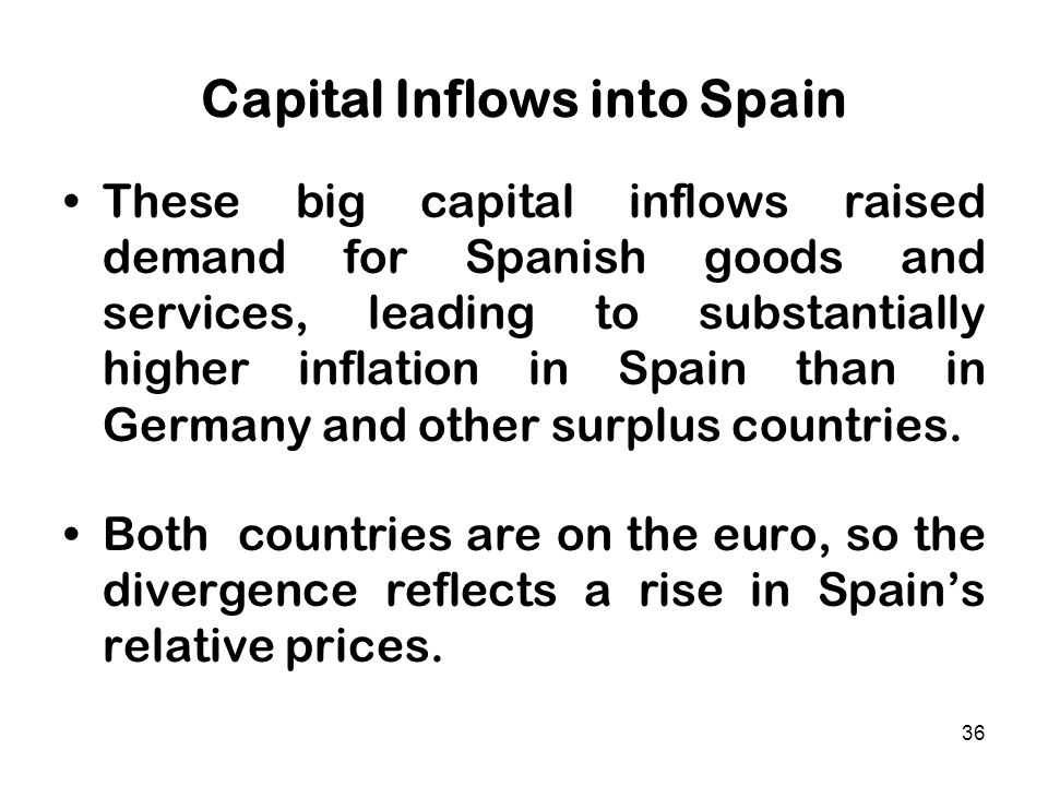 36 Capital Inflows into Spain These big capital inflows raised demand for Spanish goods and services, leading to substantially higher inflation in Spa