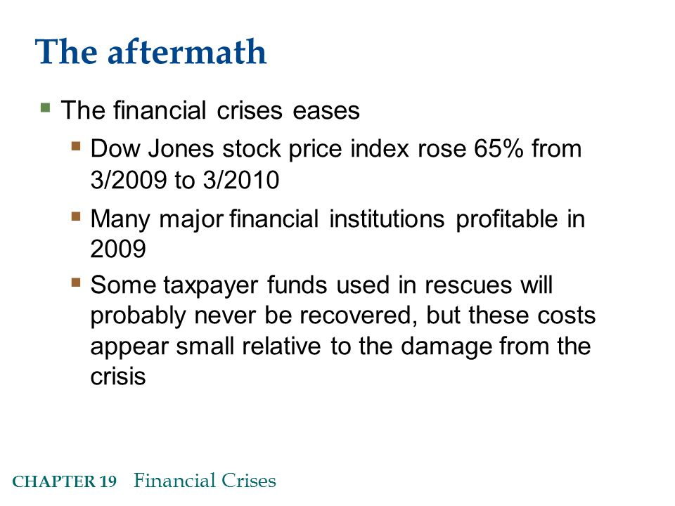 CHAPTER 19 Financial Crises The aftermath  The financial crises eases  Dow Jones stock price index rose 65% from 3/2009 to 3/2010  Many major financial institutions profitable in 2009  Some taxpayer funds used in rescues will probably never be recovered, but these costs appear small relative to the damage from the crisis