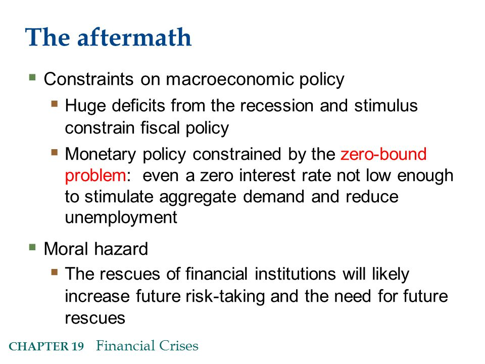 The aftermath  Constraints on macroeconomic policy  Huge deficits from the recession and stimulus constrain fiscal policy  Monetary policy constrained by the zero-bound problem: even a zero interest rate not low enough to stimulate aggregate demand and reduce unemployment  Moral hazard  The rescues of financial institutions will likely increase future risk-taking and the need for future rescues