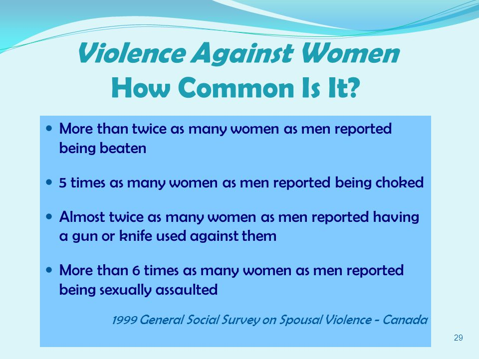More than twice as many women as men reported being beaten 5 times as many women as men reported being choked Almost twice as many women as men reported having a gun or knife used against them More than 6 times as many women as men reported being sexually assaulted 1999 General Social Survey on Spousal Violence - Canada 29 Violence Against Women How Common Is It