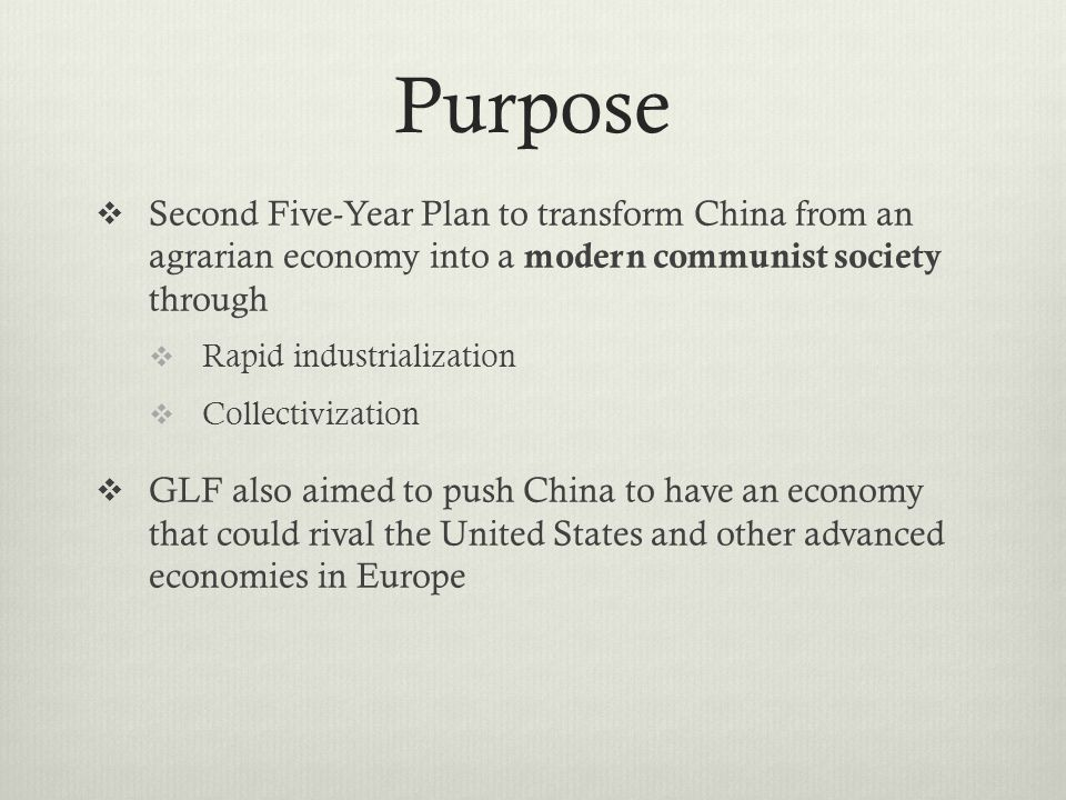Mao and GLF Aftermath  Initially moderated set targets after he was made aware of the problems of the Great Leap Forward  Carried on with GLF even after it was criticized by Peng Dehuai  In 1961, Mao Zedong stepped down as the Head of State (ie.