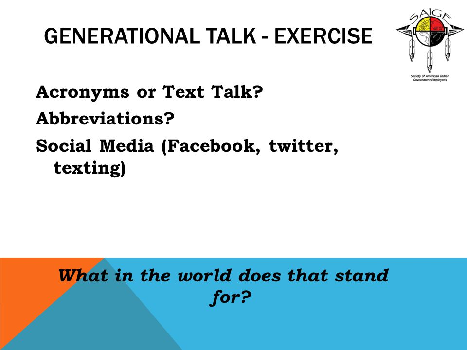 GENERATIONAL TALK - EXERCISE Acronyms or Text Talk? Abbreviations? Social Media (Facebook, twitter, texting) What in the world does that stand for?