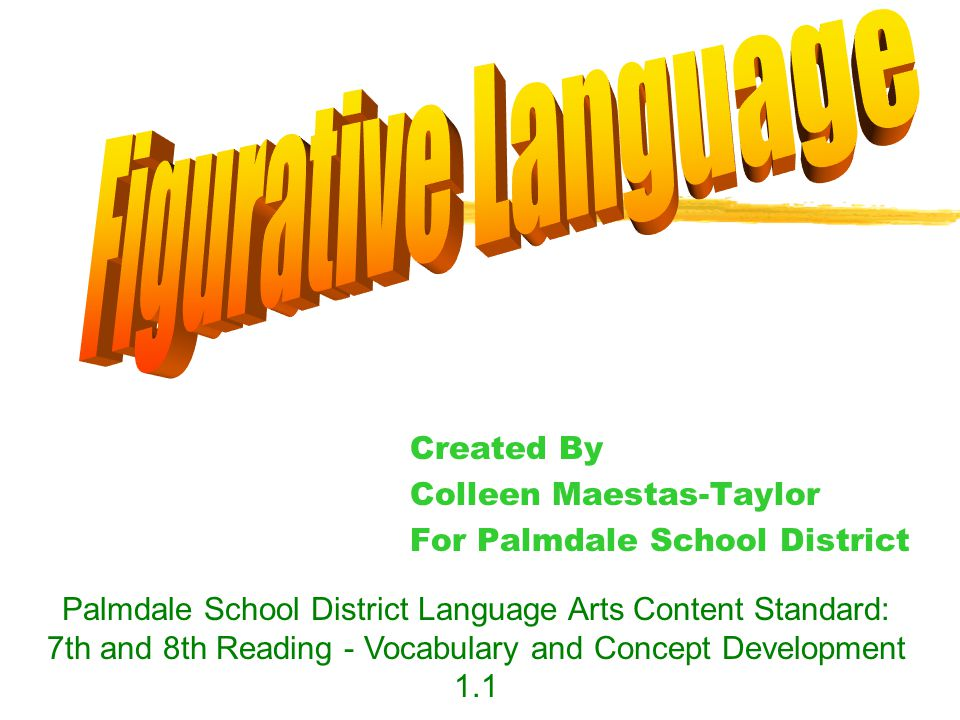 Created By Colleen Maestas-Taylor For Palmdale School District Palmdale School District Language Arts Content Standard: 7th and 8th Reading - Vocabulary and Concept Development 1.1