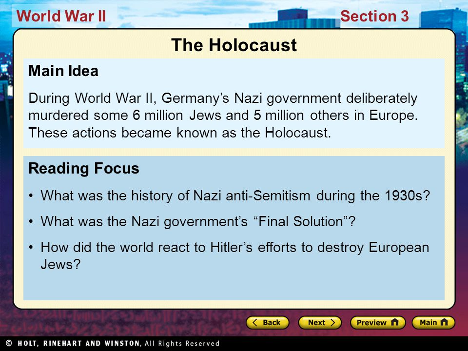 World War IISection 3 Reading Focus What was the history of Nazi anti-Semitism during the 1930s.
