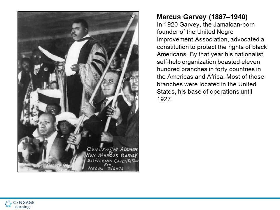 Marcus Garvey (1887–1940) In 1920 Garvey, the Jamaican-born founder of the United Negro Improvement Association, advocated a constitution to protect t