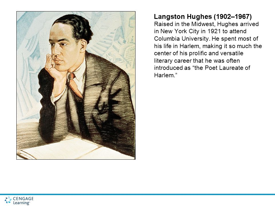 Langston Hughes (1902–1967) Raised in the Midwest, Hughes arrived in New York City in 1921 to attend Columbia University. He spent most of his life in