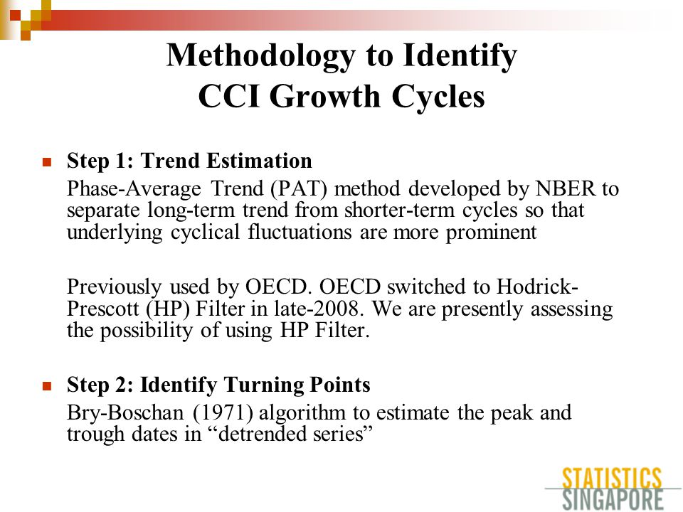 Methodology to Identify CCI Growth Cycles Step 1: Trend Estimation Phase-Average Trend (PAT) method developed by NBER to separate long-term trend from shorter-term cycles so that underlying cyclical fluctuations are more prominent Previously used by OECD.