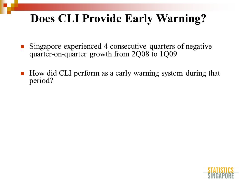Singapore experienced 4 consecutive quarters of negative quarter-on-quarter growth from 2Q08 to 1Q09 How did CLI perform as a early warning system during that period