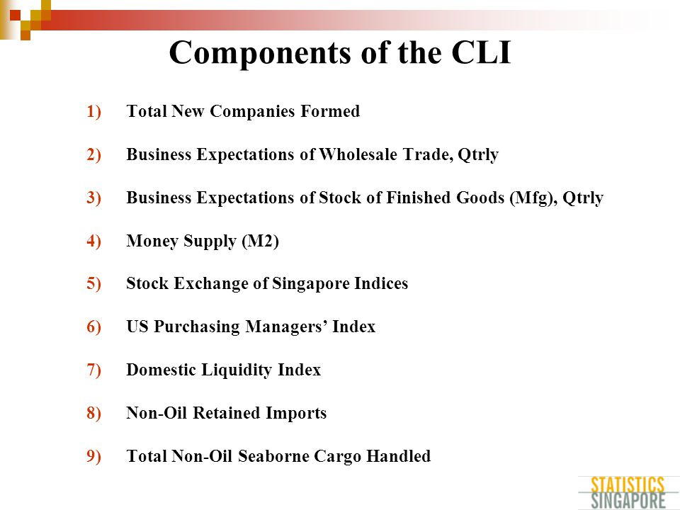 Components of the CLI 1)Total New Companies Formed 2)Business Expectations of Wholesale Trade, Qtrly 3)Business Expectations of Stock of Finished Goods (Mfg), Qtrly 4)Money Supply (M2) 5)Stock Exchange of Singapore Indices 6)US Purchasing Managers' Index 7)Domestic Liquidity Index 8)Non-Oil Retained Imports 9)Total Non-Oil Seaborne Cargo Handled