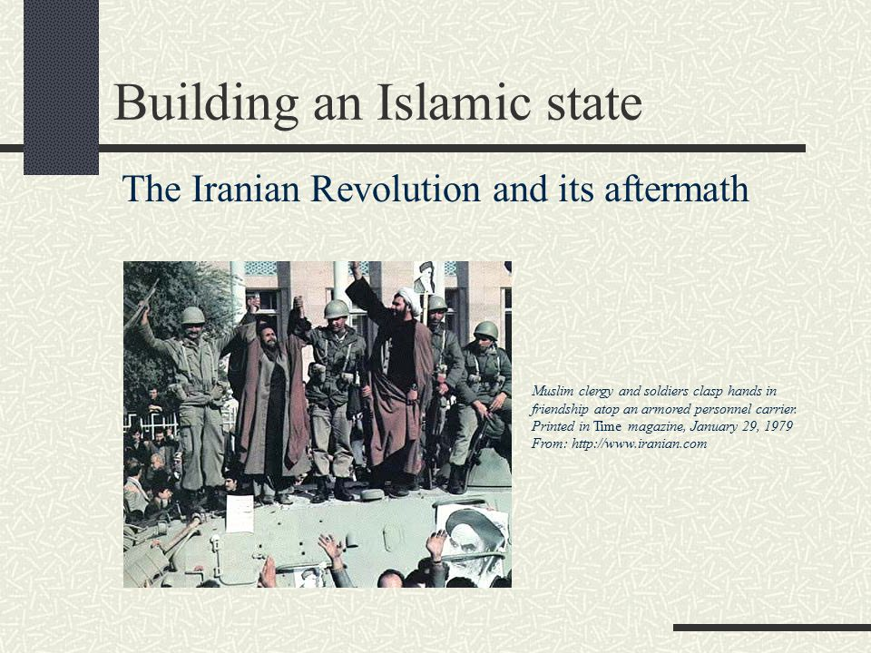 After the Shah: competing visions 1st (early Revolution) Vision Moderate Constitutional Monarchy (Mehdi Bazargan, the Freedom Movement & Ali Shari'ati) 2nd Vision Secular Republic -- respecting but not controlled by Shi'ism 3rd Vision : Theocracy-government of Ulama