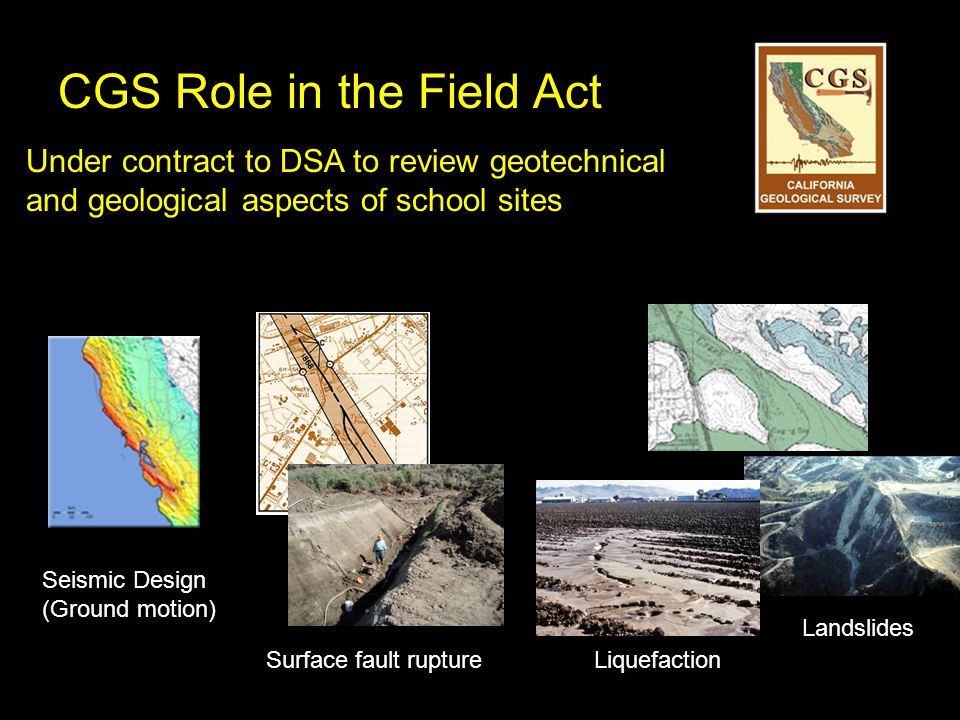 CGS Role in the Field Act Under contract to DSA to review geotechnical and geological aspects of school sites Surface fault ruptureLiquefaction Landslides Seismic Design (Ground motion)
