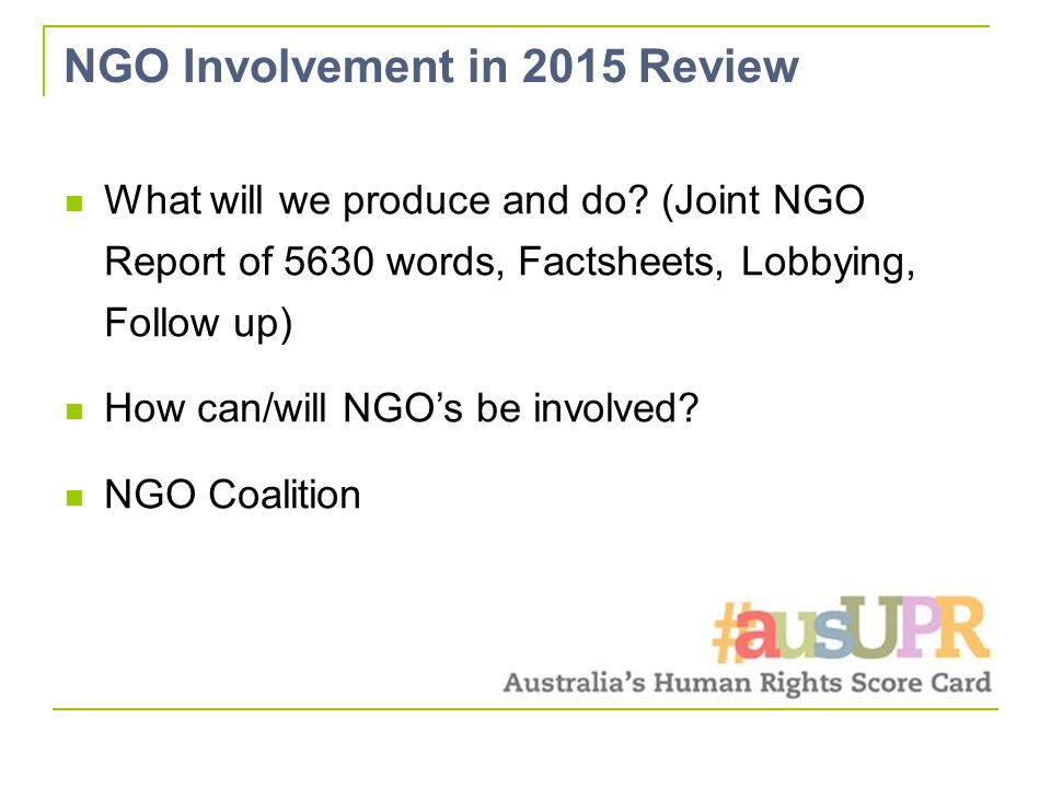 NGO Involvement in 2015 Review What will we produce and do.