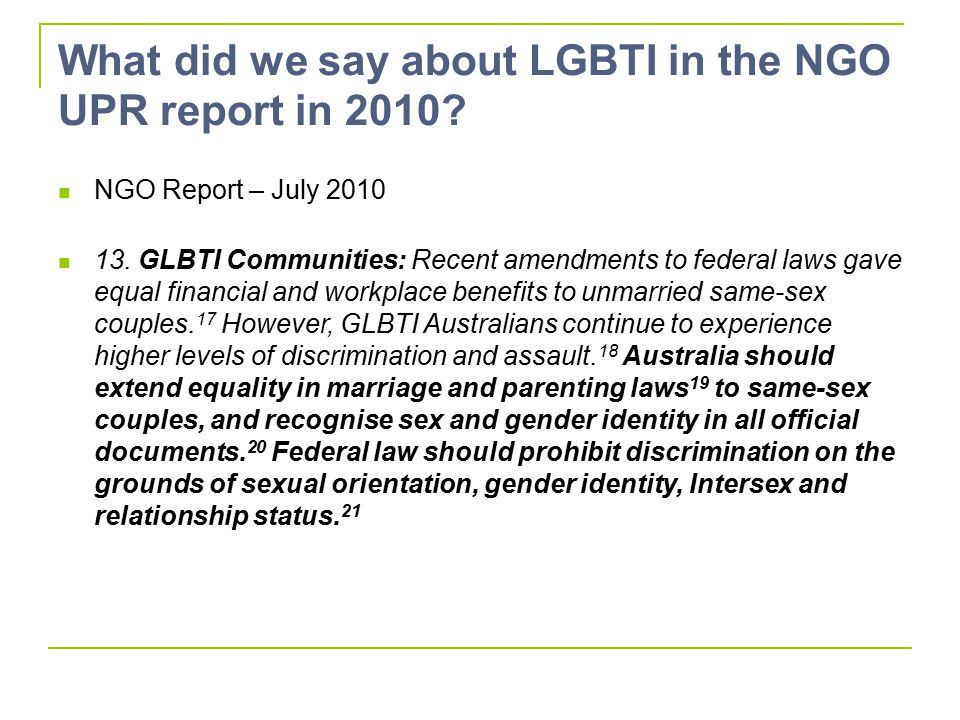 What did we say about LGBTI in the NGO UPR report in 2010.