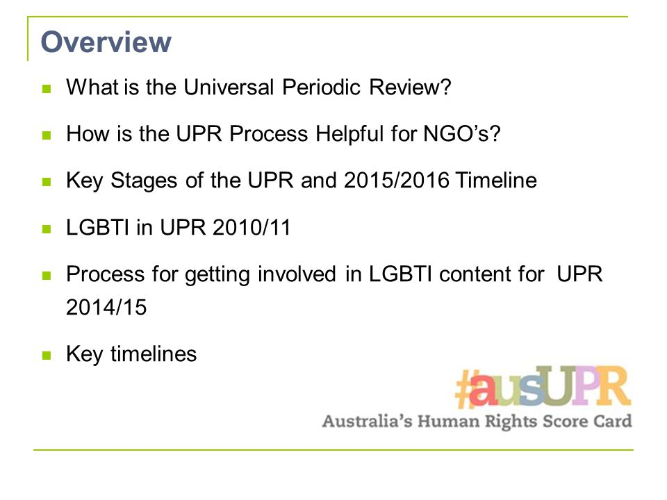 Overview What is the Universal Periodic Review. How is the UPR Process Helpful for NGO's.